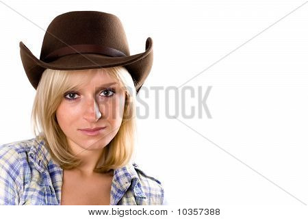 Pretty Western Woman In Cowboy Shirt And Hat