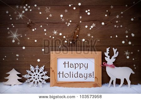 White Decoration On Snow, Happy Holidays, Sparkling Stars