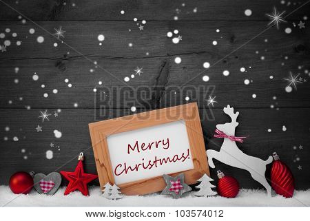 Red Decoration, Merry Christmas, Snow, Gray Background, Stars