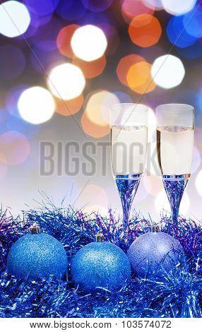 Glasses, Blue Xmass Balls On Blurry Background 10