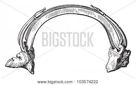 Vase handle, vintage engraved illustration.