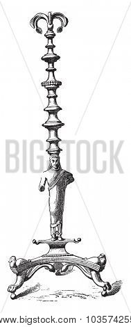 Etruscan candelabrum, vintage engraved illustration.