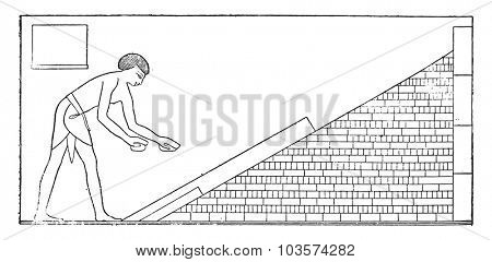 Construction and use of bricks, vintage engraved illustration.