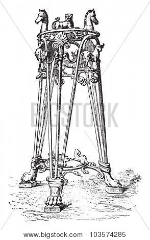Tripod of the Pourtales collection, vintage engraved illustration.