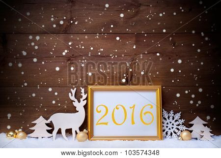 White And Golden Christmas Card, Snowflake, 2016, New Year