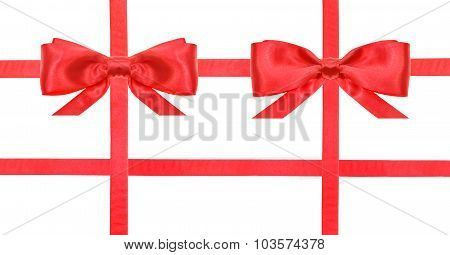 Red Satin Bow Knot And Ribbons On White