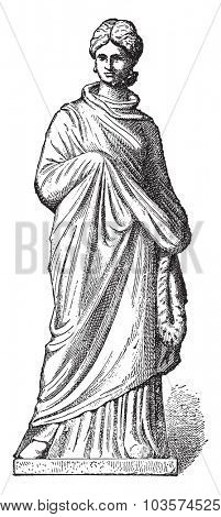 Terracotta figurine, vintage engraved illustration.