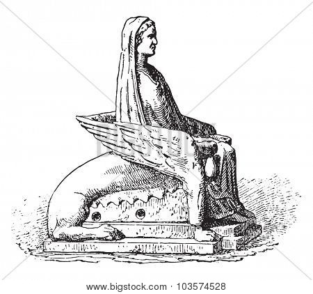 Statuette, vintage engraved illustration.
