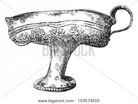 Golden cup of Greek labor, vintage engraved illustration.