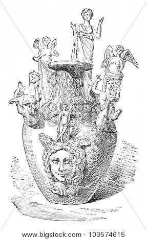 Votive Vase of Apulia, vintage engraved illustration.