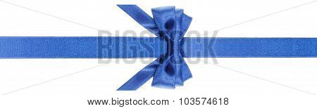 Blue Bow With Vertically Cut End On Narrow Band