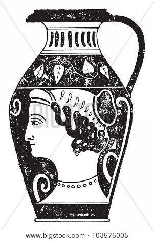 Painted vase, vintage engraved illustration.