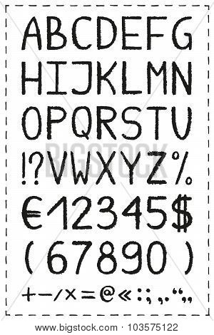 Oil pastel crayon alphabet.