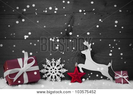 Gray Christmas Card With Red Decoration, Copy Space, Snowflakes