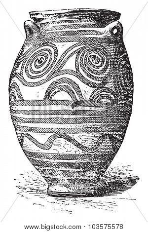 Vase of Santorini, vintage engraved illustration.
