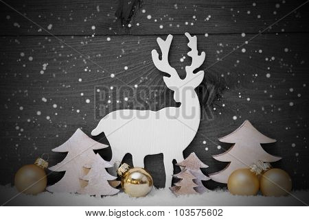 Gray, Golden Christmas Decoration, Tree And Reindeer, Snowflakes