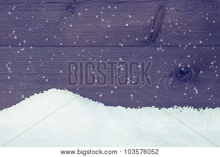 Wooden Texture With Snow, Vintage Style, Snowflakes