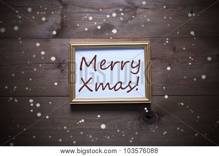 Golden Picture Frame With Merry Xmas And Snowflakes