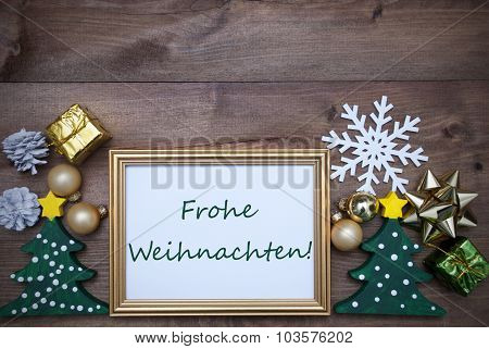 Frame With Decoration, Frohe Weihnachten Mean Merry Christmas