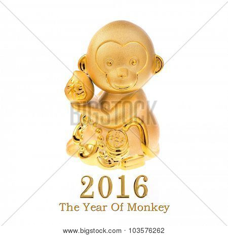2016 is year of the monkey,Gold monkey,Chinese calligraphy translation:good bless for new year and earn more money