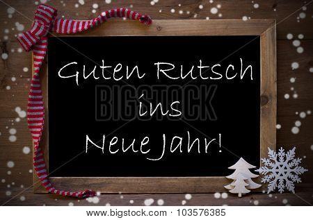 Chalkboard Guten Rutsch Ins Neue Jahr Means New Year, Snowflakes