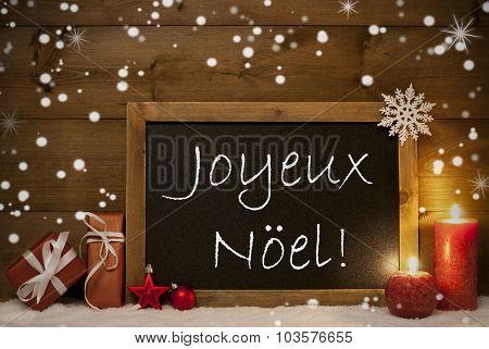 Card, Blackboard, Snowflakes, Joyeux Noel Mean Merry Christmas