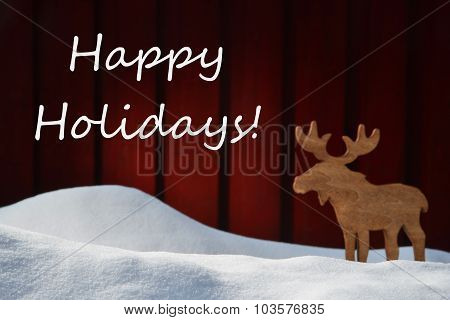 Christmas Card With Happy Holidays, Snow And Moose
