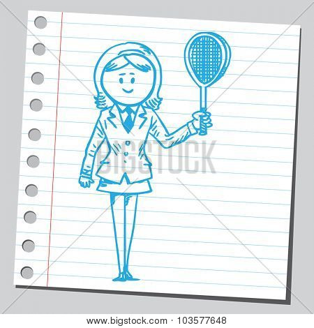 Businesswoman with tennis racket