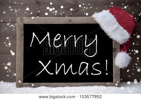 Gray Card, Blackboard, Merry Xmas, Snow
