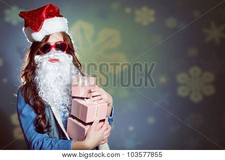 Funky girl in super sunglasses and false santa beard