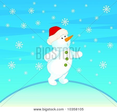 Vector cartoon little cute snowman