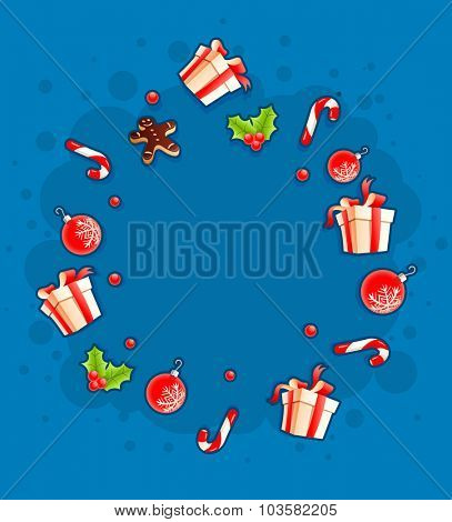 Christmas greeting card with gifts and sweets by circle cloud. vector illustration. Transparent objects used for lights and shadows drawing.