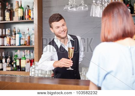 Cheerful male bartender is serving customer in bar