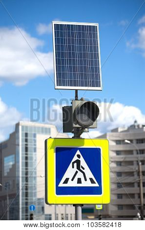 Pedestrian crossing sign and solar panel