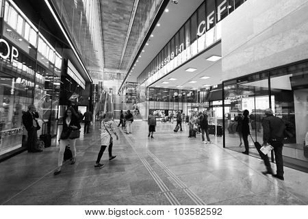 GENEVA, SWITZERLAND - SEPTEMBER 11, 2014: train station in Geneva downtown. Geneva is the second most populous city in Switzerland and is the most populous city of Romandy,
