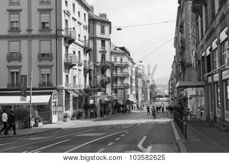 GENEVA, SWITZERLAND - SEPTEMBER 11, 2014: Geneva downtown. Geneva is the second most populous city in Switzerland and is the most populous city of Romandy, the French-speaking part of Switzerland