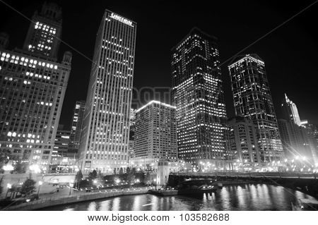 CHICAGO, USA - OCTOBER 04, 2011: Chicago downtown at night. Chicago is the third most populous city in the United States, after New York City and Los Angeles