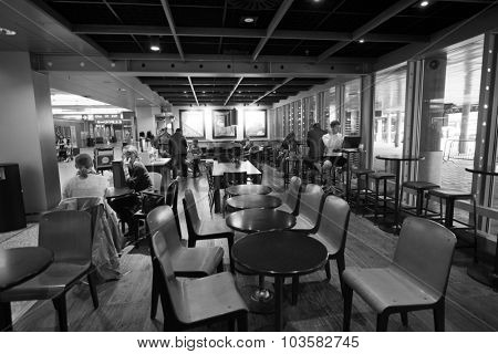 HELSINKI - SEP 03: Starbucks Cafe interior in Helsinki Airport on September 03, 2014 in Helsinki, Finland. Starbucks is the largest coffeehouse company in the world, with more then 23000 stores