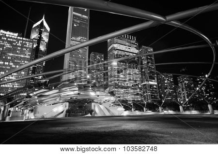 CHICAGO, USA - OCTOBER 04, 2011: Jay Pritzker Pavilion. Jay Pritzker Pavilion is a bandshell in Millennium Park in the Loop community area of Chicago in Cook County, Illinois, United States
