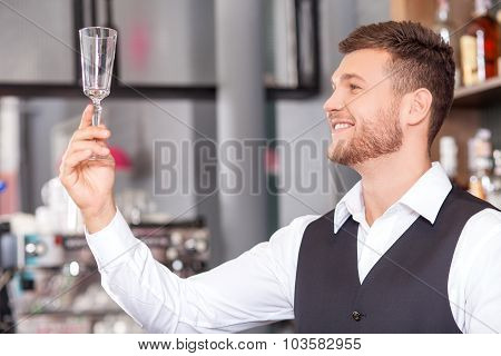 Handsome male bartender is working in pub