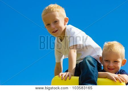 Children Kids In Playground Climbing Playing.
