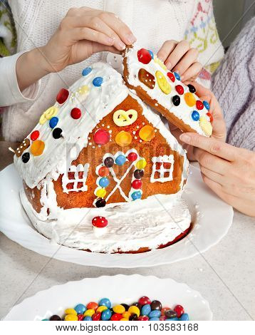 Making Christmas Gingerbread House Together