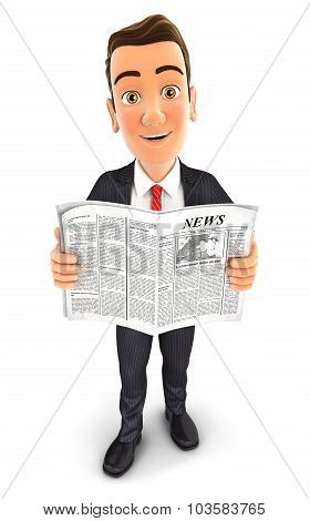 3d businessman newspaper