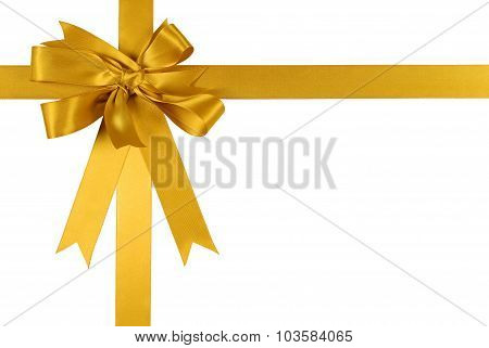 Yellow Gold Gift Ribbon Bow Isolated On White Background
