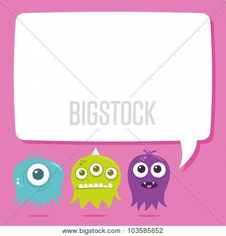 Cute Happy Flying Aliens, Blank Text Bubble
