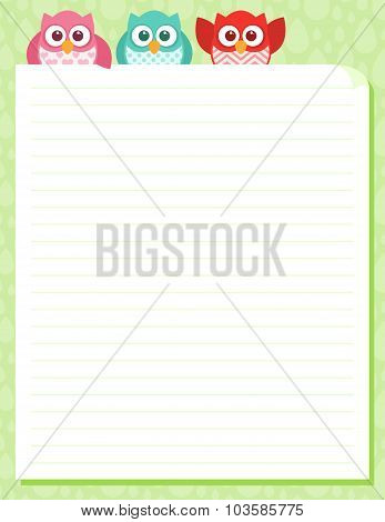 Cute Simple Cartoon Patterned Owls, Stationery Template