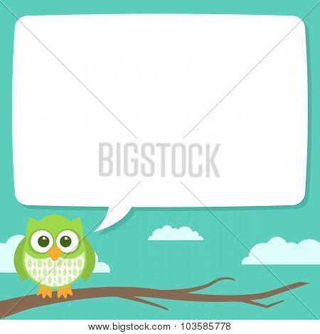 Cute Simple Cartoon Patterned Owls, Speech Bubble