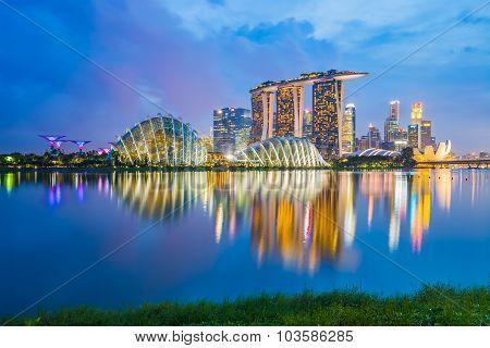 Singapore Skyline Cityscape At Night