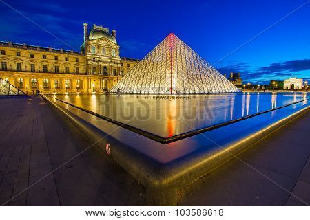 Louvre Museum At Night In Paris, France