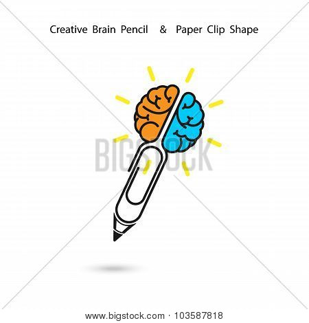 Creative Brain Pencil Logo Design,paper Clip Sign.concept Of Ideas Inspiration.business And Educatio